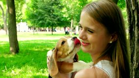 Muchacha feliz con un beagle del perro que juega en la naturaleza almacen de metraje de vídeo