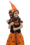 Muchacha feliz de la bruja con la escoba Imagen de archivo
