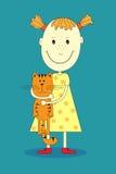 Muchacha feliz de la historieta del vector con el gato divertido libre illustration