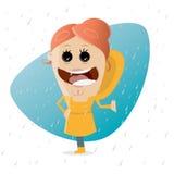 Muchacha feliz de la historieta que se coloca en la lluvia stock de ilustración
