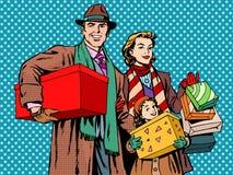 Muchacha feliz de la mamá del papá de la familia que hace compras ilustración del vector