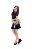 Muchacha feliz de la moda de la diversión integral Imagen de archivo