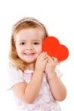 Muchacha feliz de las tarjetas del día de San Valentín Fotografía de archivo