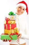 Muchacha feliz de Santa con los regalos Foto de archivo
