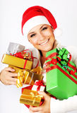 Muchacha feliz de Santa con los regalos Fotos de archivo libres de regalías