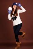 Muchacha feliz del adolescente con la bola de nieve Fotografía de archivo libre de regalías