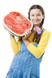 Muchacha feliz del adolescente con la mitad de la sandía Fotografía de archivo libre de regalías