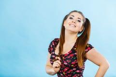 Muchacha feliz del adolescente con las colas de caballo Fotografía de archivo