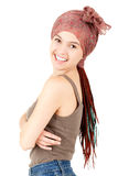 Muchacha feliz del adolescente con las trenzas africanas Imagenes de archivo