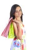 Muchacha feliz del adolescente de las compras Imágenes de archivo libres de regalías
