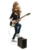 Muchacha feliz del adolescente que toca la guitarra Imagen de archivo libre de regalías