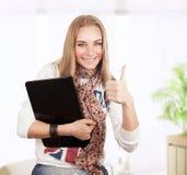 Muchacha feliz del estudiante Imagen de archivo libre de regalías