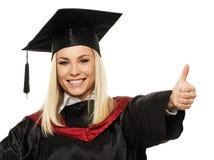 Muchacha feliz del estudiante graduado fotos de archivo