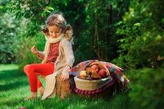 Muchacha feliz del niño que cosecha manzanas en jardín del otoño Activitty rural al aire libre estacional Imagenes de archivo