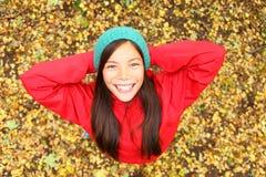 Muchacha feliz del otoño Imagen de archivo libre de regalías
