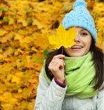 Muchacha feliz del otoño Imagen de archivo