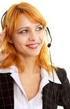 Muchacha feliz del servicio de atención al cliente Fotos de archivo libres de regalías