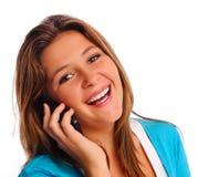 Muchacha feliz del teléfono celular Imagenes de archivo