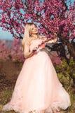 Muchacha feliz embarazada en jardín del rosa de la primavera Imagenes de archivo