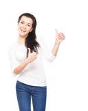 Muchacha feliz, emocional y sonriente del adolescente aislada en blanco Fotos de archivo