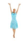 Muchacha feliz en alineada azul con fotos de archivo libres de regalías