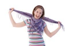 Muchacha feliz en bufanda y camiseta Imagenes de archivo