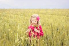 Muchacha feliz en el campo de trigo Foto de archivo libre de regalías