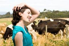 Muchacha feliz en granja Fotografía de archivo libre de regalías