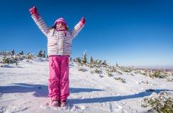 Muchacha feliz en invierno Imágenes de archivo libres de regalías