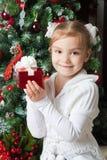 Muchacha feliz en la chaqueta blanca con el regalo cerca del árbol de navidad Fotos de archivo
