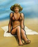 Muchacha feliz en la playa Foto de archivo libre de regalías