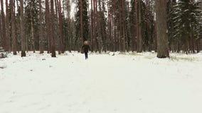 Muchacha feliz en la trayectoria en bosque en invierno almacen de metraje de vídeo
