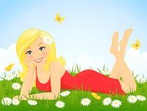 Muchacha feliz en prado de la flor Fotos de archivo libres de regalías