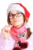 Muchacha feliz en santa rojo Fotografía de archivo