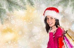Muchacha feliz hermosa Compras de la Navidad, idea para su diseño fotos de archivo libres de regalías