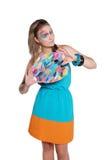 Muchacha feliz linda con la gama de colores coloreada y los cepillos Fotos de archivo libres de regalías