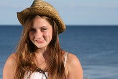 Muchacha feliz por el mar Imágenes de archivo libres de regalías