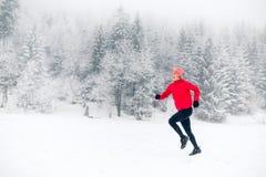 Muchacha feliz que corre en nieve en montañas del invierno imágenes de archivo libres de regalías