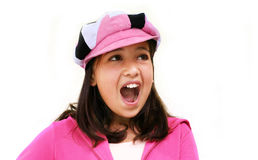 Muchacha feliz que grita Foto de archivo libre de regalías