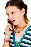 Muchacha feliz que habla en móvil Fotos de archivo libres de regalías