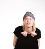 Muchacha feliz que hace la cara divertida Imagen de archivo libre de regalías
