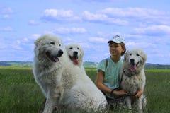 Muchacha feliz que juega con sus perros de animales domésticos Imágenes de archivo libres de regalías