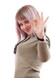 Muchacha feliz que muestra OK Foto de archivo libre de regalías