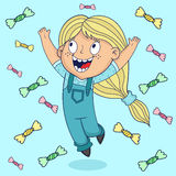 Muchacha feliz que salta adentro a la lluvia del caramelo ilustración del vector