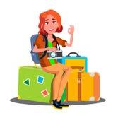 Muchacha feliz que se sienta en la pila de maletas listas para viajar vector Ilustración aislada stock de ilustración
