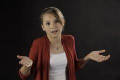 Muchacha femenina adolescente con la pregunta Foto de archivo libre de regalías