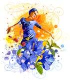 muchacha, flores y acuarelas stock de ilustración