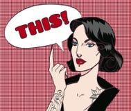 Muchacha fresca punky gótica del arte pop con la burbuja del discurso EPS 10 Fotografía de archivo libre de regalías