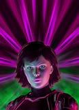 Muchacha futurista del guerrero, ejemplo 3d stock de ilustración