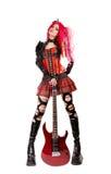 Muchacha gótica con la electro guitarra Imágenes de archivo libres de regalías